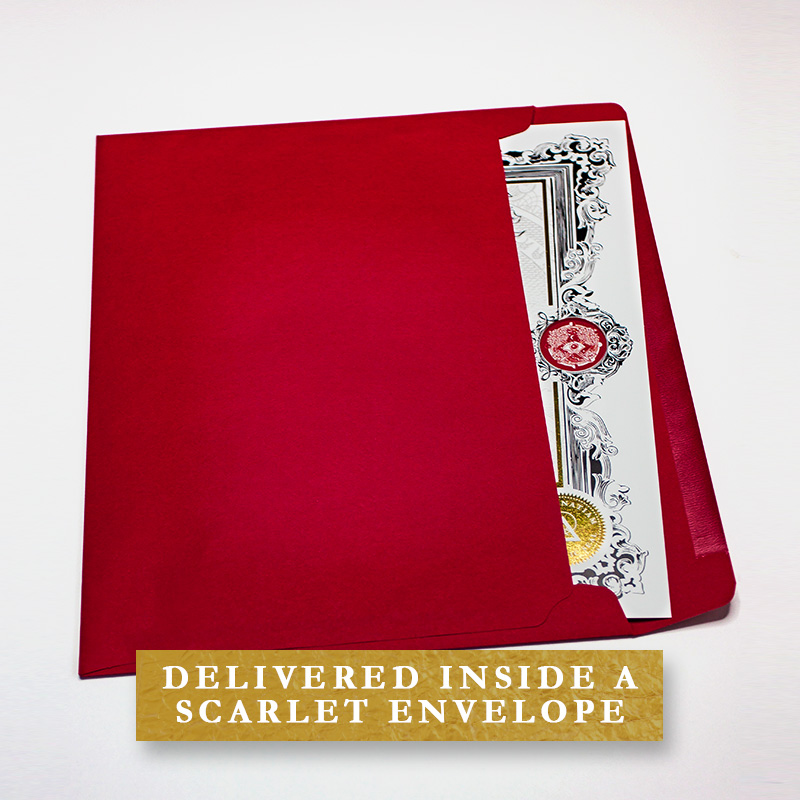 Delivered inside a scarlet envelope